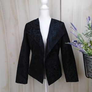Rene Lezard Brocade Black Open Structured Blazer